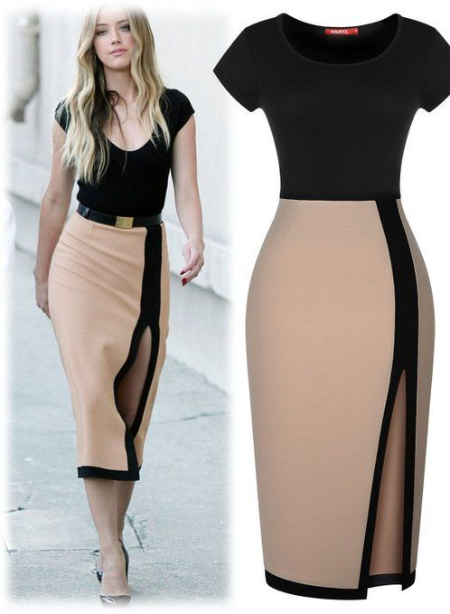 Beige And Black Celebrity Inspired Dress With Belt $29.99