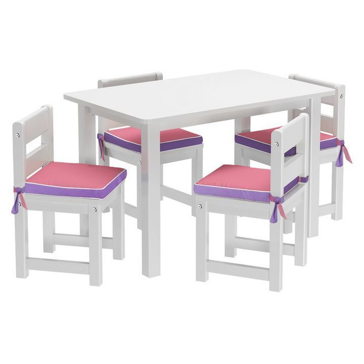 Maxtrix Kids Playtime 36 Play Table with Four Chairs with Reversible Purple/ Pink Seat Pads (White)