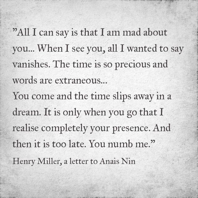 Henry Miller to Anais Nin