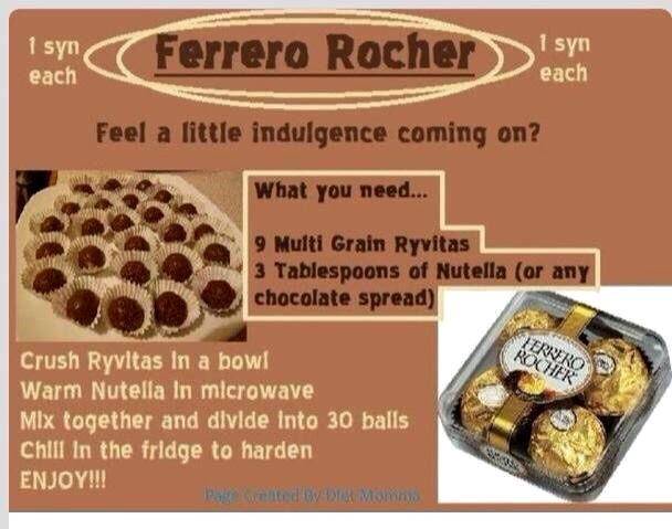 1 Syn Ferrero Rocher Slimming World Desserts Sweets