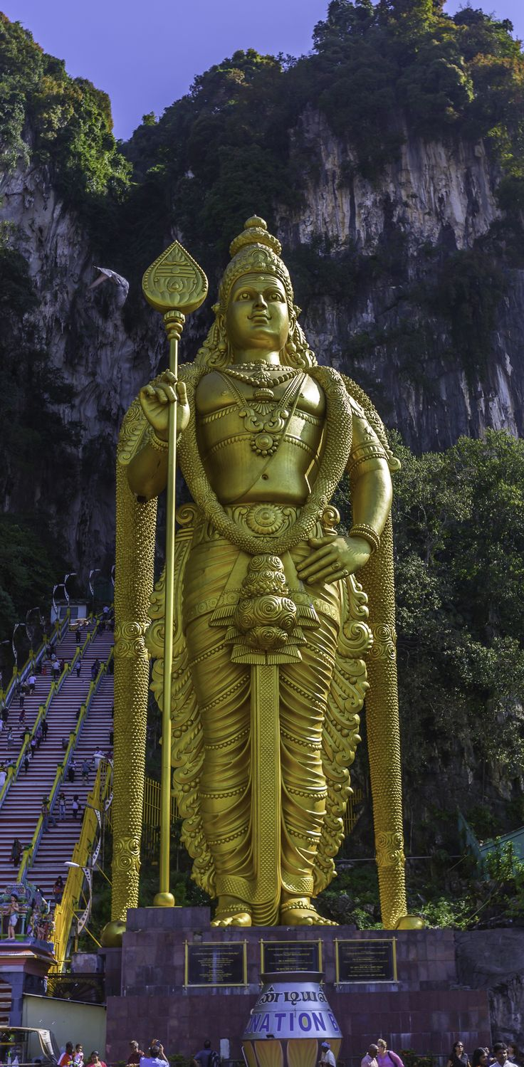 Kuala Lumpur (Port Klang), Malaysia. Snap a selfie with the world's tallest statue of Murugan, a Hindu deity, who stands outside of the Batu Caves.