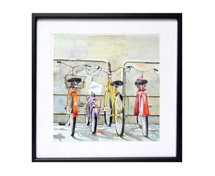 Italiano biciclette illustrazione acquerello stampa, stampa acquerello vecchio moda bici aquarrelle, bici muro bicicletta muro grigio arte arte di WatercolorByMuren su Etsy https://www.etsy.com/it/listing/65016254/italiano-biciclette-illustrazione