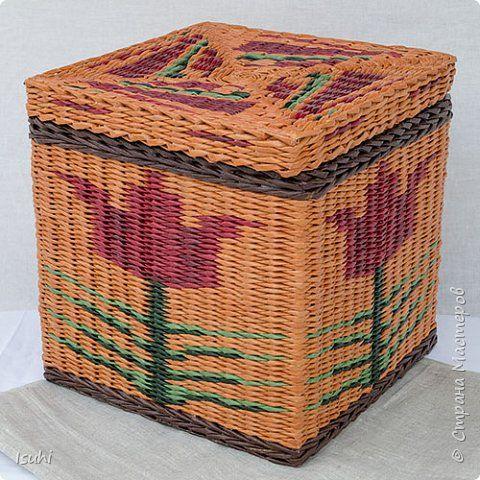 Всем привет.  Сегодня показываю продолжение моей эпопеи с плетением орнаментов на коробах с квадратным дном.  Несмотря на осенний календарь в моем плетеном хозяйстве распустился вот такой тюльпан. фото 1