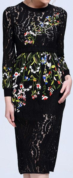 Floral Embroidered Black Lace Sheath Dress