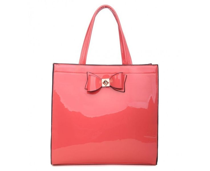 Coral Patent Shopper Bag with Bow - Extra Large Size - The Handbag Hut - The latest handbag trends at prices you can't resist!