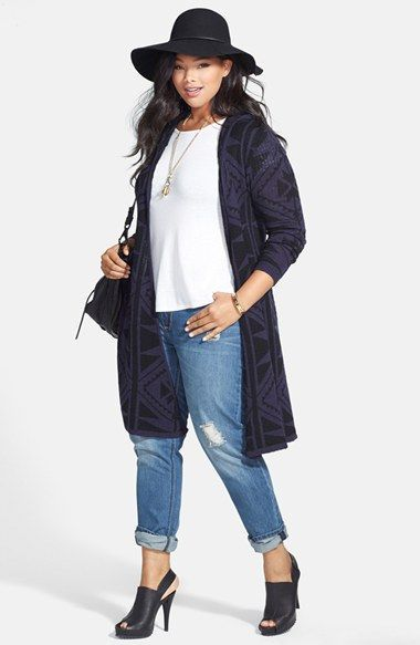 City Chic 'Aztec Longline' Hooded Cardigan (Plus Size) | Nordstrom.  Size M