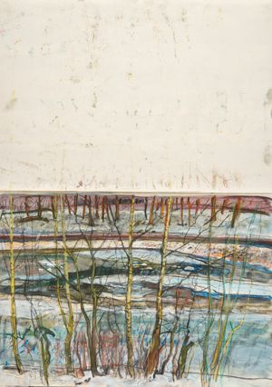 Ice on the river from the kitchen window, Christmas, 2009, pastel, acrylic and compressed charcoal. (GLAHA: 56446/39). Duncan Shanks