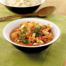 Curry de chou-fleur aux lentilles rouges.