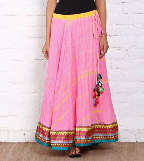 Pink & Yellow Tie Dyed Cotton Skirt with Silk Border