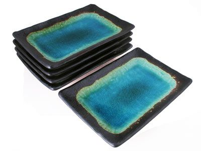 Turquoise Sky and Earth Wide Rectangular Asian Dinner Plates Set for Five
