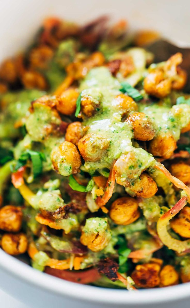 Rainbow Power Salad with Roasted Chickpeas - carrots, zucchini, basil, chickpeas and green dressing
