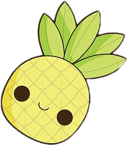 kawaii pineapple clipart chibi drawings easy clip yellow transparent doodles drawing cartoon picsart sticker disney simple animal anime pencil lips