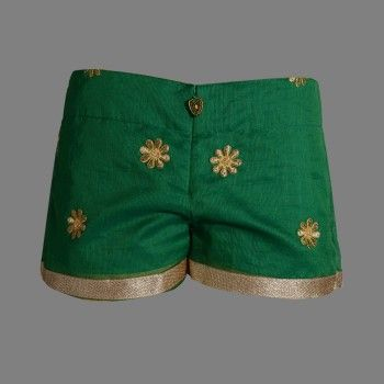 The Alcina shorts are part of a cotton chanderi suit that is hand embroidered with a hand made border and cotton lining. These shorts are available in 4 color themes.