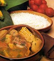 Sancocho - A hearty chicken soup and Panama's most typical countryside dish, In addition to chicken pieces, sancocho has a starchy root called namé and is spiced with culandro- a leaf similar in taste to cilantro.