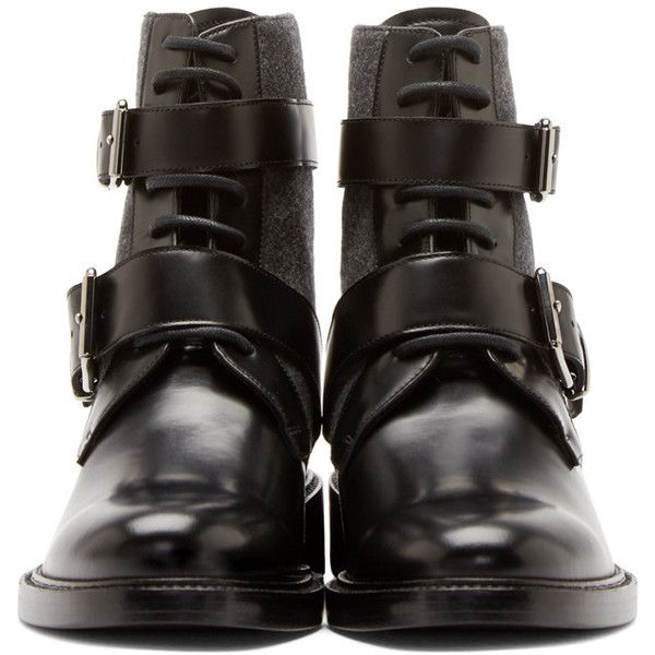 Burberry London Black Leather and Felt Haldworth Ankle Boots (1,050 CAD) ❤ liked on Polyvore featuring shoes, boots, ankle booties, black lace up ankle booties, black bootie, leather ankle boots, lace up ankle boots and black leather bootie