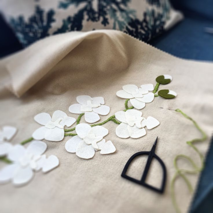 White moth orchid in bloom at birdiebrown.co.nz Pure wool diy applique and embroidery kit