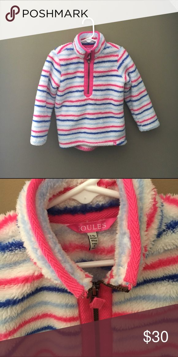 Joules 3-4T Cozy Sherpa Half-Zip Pullover Worn one time only inside. Purchased in November. Too big for my daughter who is a small 3yo. So cute and needs a new home! Joules Shirts & Tops Sweatshirts & Hoodies