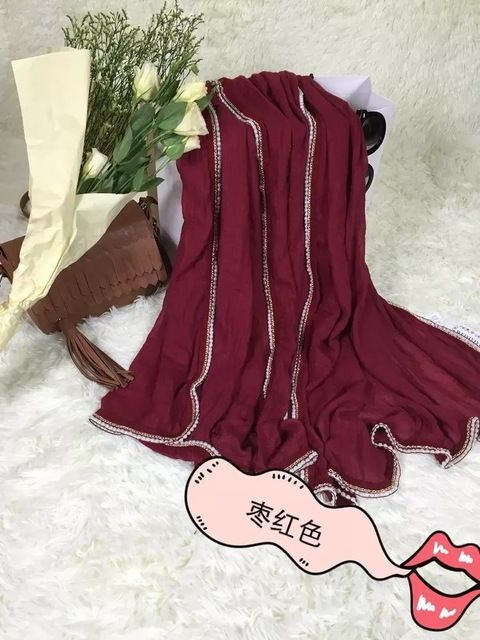 2015 Women Pearl Chain Trim Scarf Solid Color Pearl Scarf Shawls Wraps Hijabs 7Colors 10pcs/lot Freeshipping US $68.00 To Buy Or See Another Product Click On This Link  http://goo.gl/yekAoR