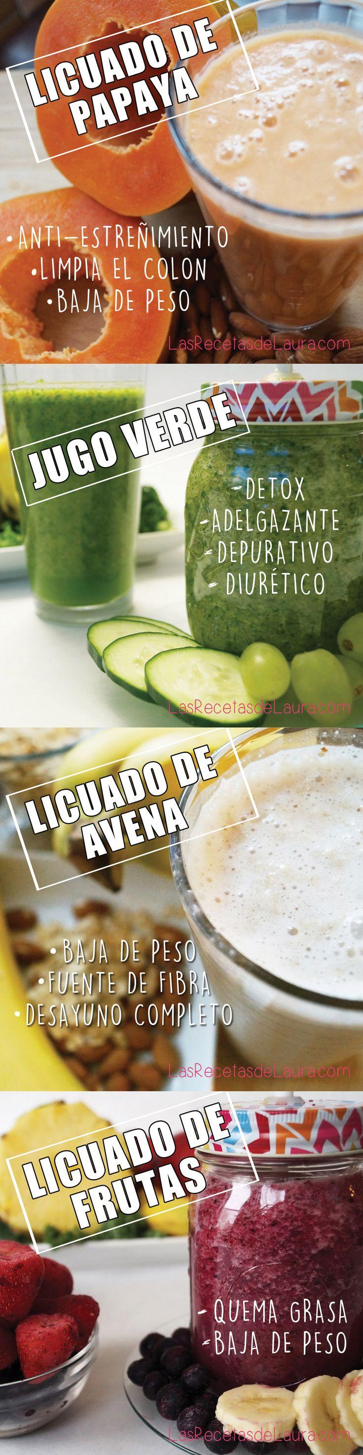 Deliciosas opciones de jugos saludables- licuados saludables, ideales para el desayuno! antiestreñimiento, para bajar de peso, detox y más!