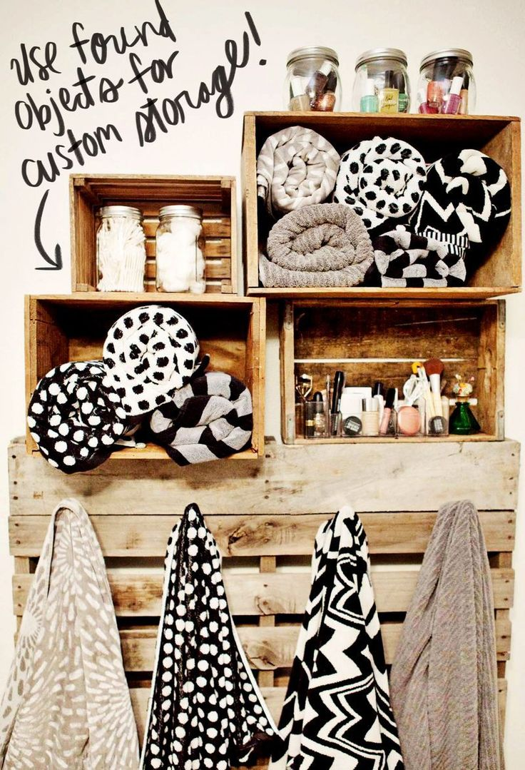 crate shelving, love the mason jars for storage