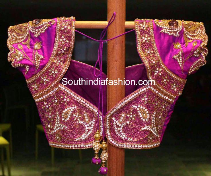 Kundan Work Bridal Saree Blouse ~ Celebrity Sarees, Designer Sarees, Bridal Sarees, Latest Blouse Designs 2014 South India Fashion
