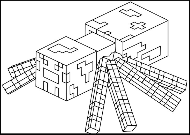 Printable Minecraft Spider coloring pages.