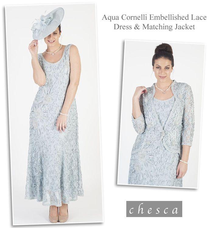 Chesca Aqua Lace Dress and Jacket