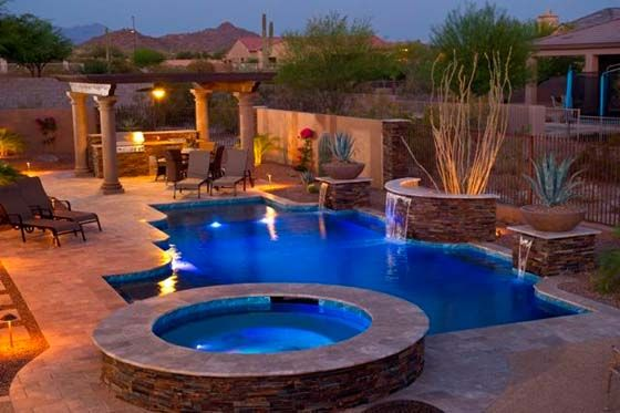 Pool Designs Arizona arizona pool builders Award Winning Pool Arizona Spa Landscape Design Stone Columns Outdoor Living Room Barbecue Waterfall Special Features Httpcal