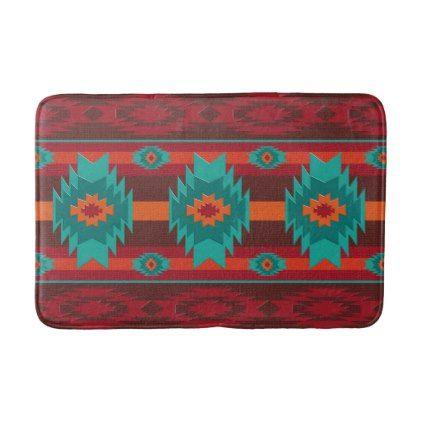 Southwestern navajo tribal pattern bath mat - patterns pattern special unique design gift idea diy