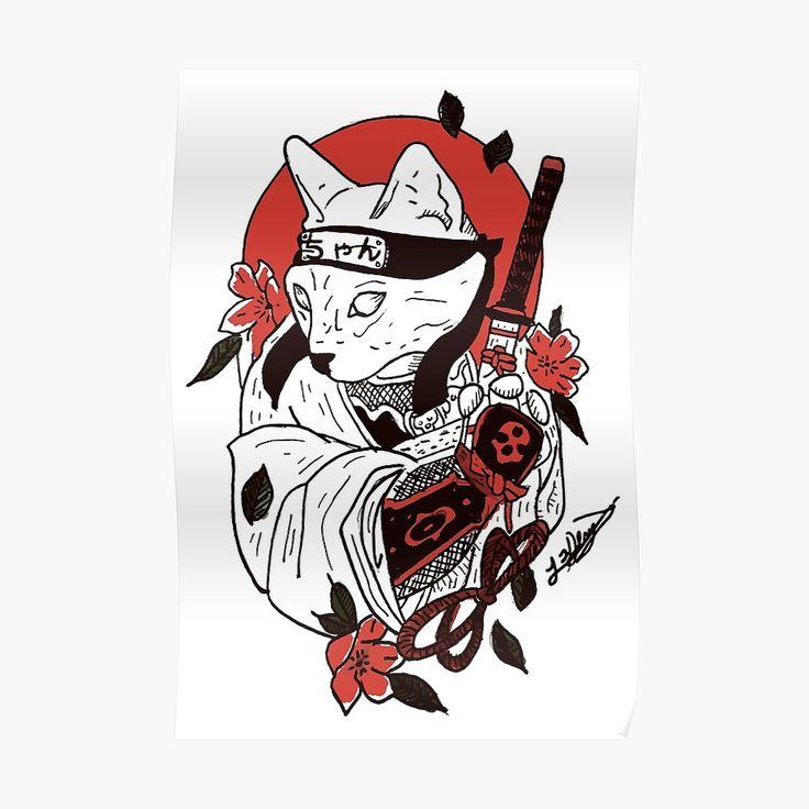 """Japanese Samurai Cat"" Sticker by nextlevelpet Redbubble"