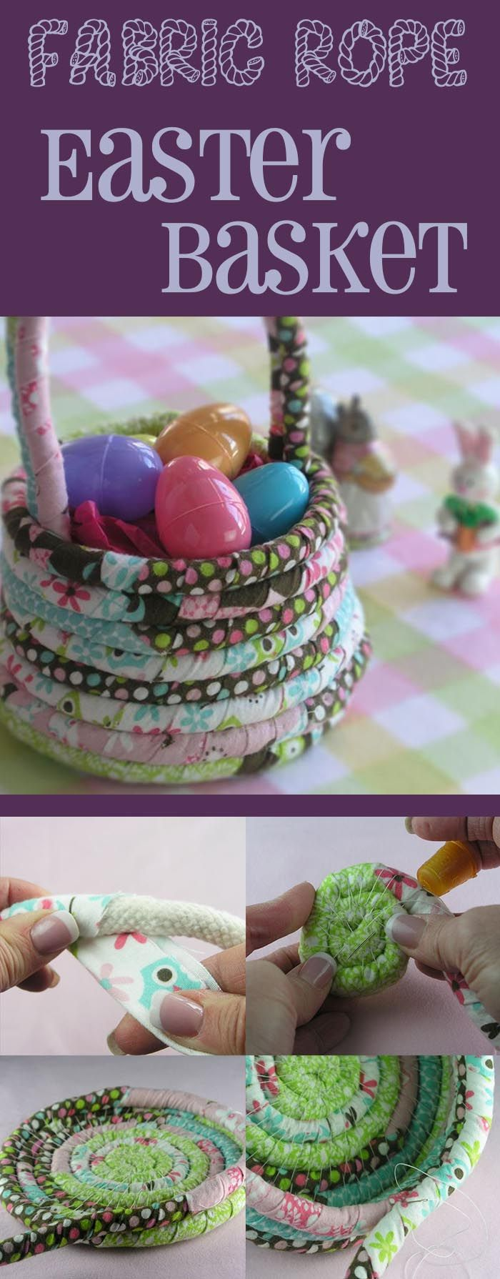 Fabric rope Easter basket is absolutely adorable. #DIY #crafts