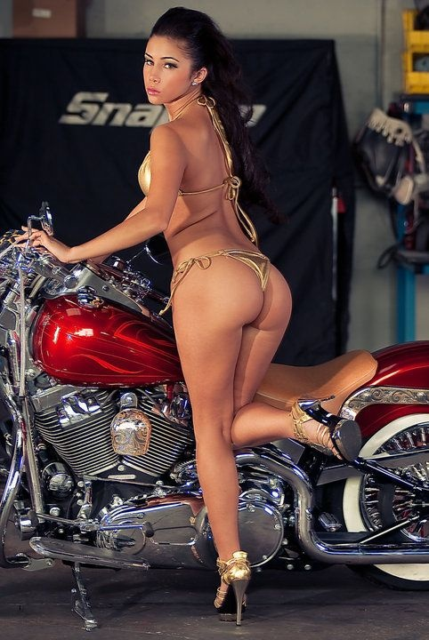 nude babe on a harley