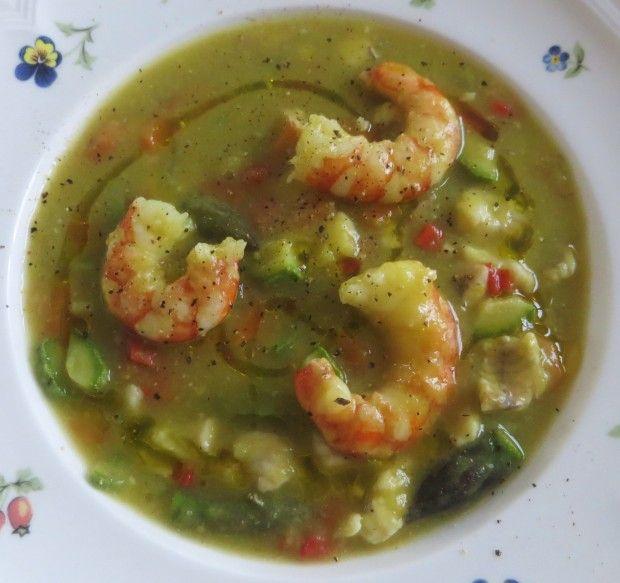 minestra di primavera con gamberi e gallinella.1