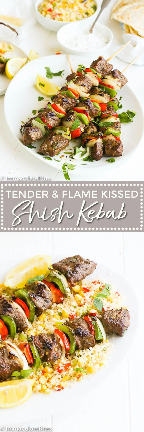 Shish Kebab -- a delightful flavorful dish on skewers with chunks of marinade beef and veggies grilled to perfection