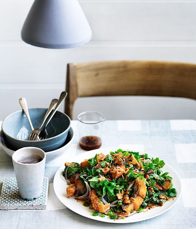 Australian Gourmet Traveller Fare Exchange recipe for Crisp barramundi fillets with roasted chilli, mint and coriander from Son in Law in Collingwood, Victoria