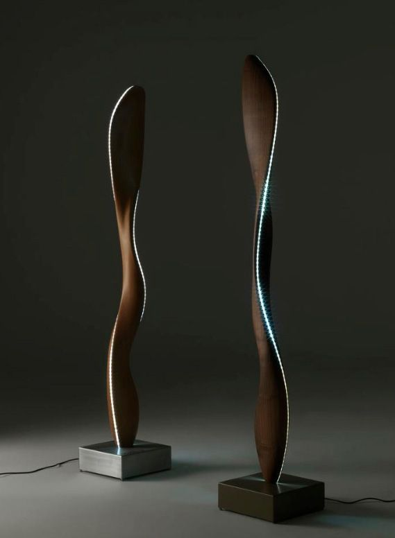 Fiamma lamp designed by Karim Rashid - Riva1920. Made from wood with oled technology.