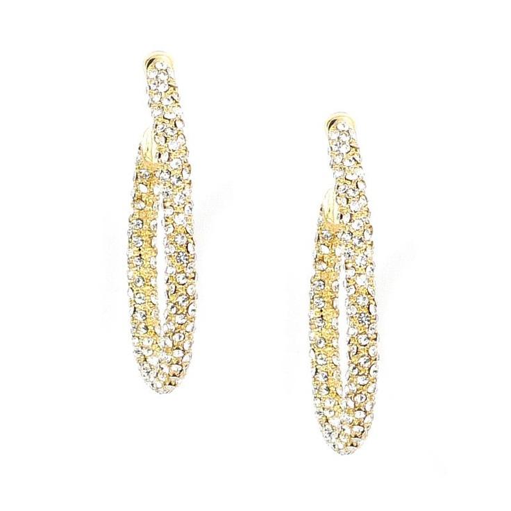 Mikey London Gold Crystal Hoop Earrings