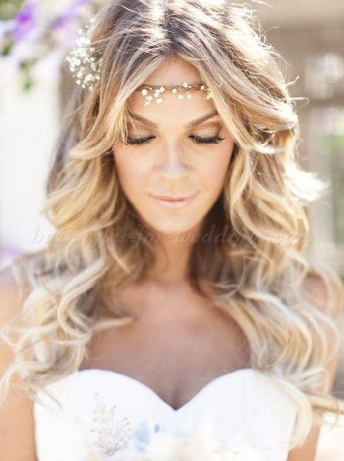 hair down wedding hairstyles, wedding hairstyles for long hair - hair down bridal hairstyle with forehead band