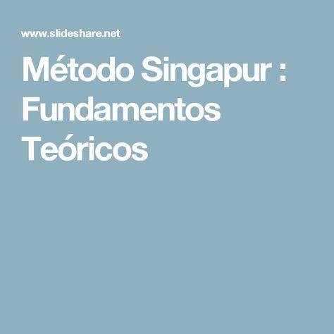 Método Singapur : Fundamentos Teóricos