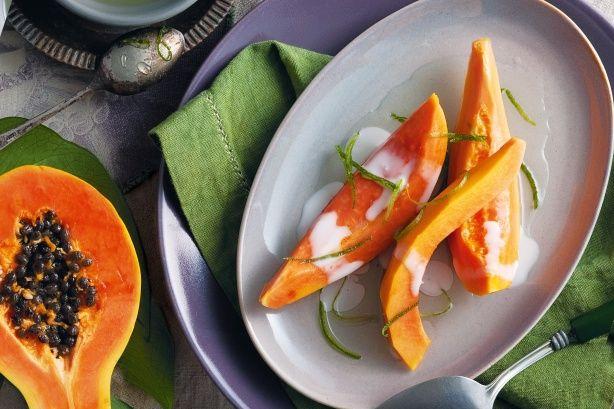 Red papaya in lemon grass syrup recipe @recipesfornet