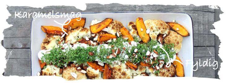 SalatTøsen » Bagt blomkål og hokkaido græskar m. friskost og urter