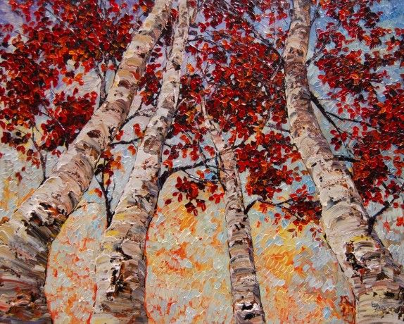 Upward Birches by Maya Eventov, Acrylic on Canvas, Painting | Koyman Galleries