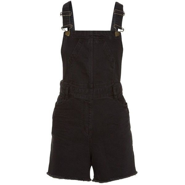 Maje Short Denim Dungarees ($230) ❤ liked on Polyvore featuring jumpsuits, rompers, denim rompers, short rompers, denim dungaree, vintage rompers and maje