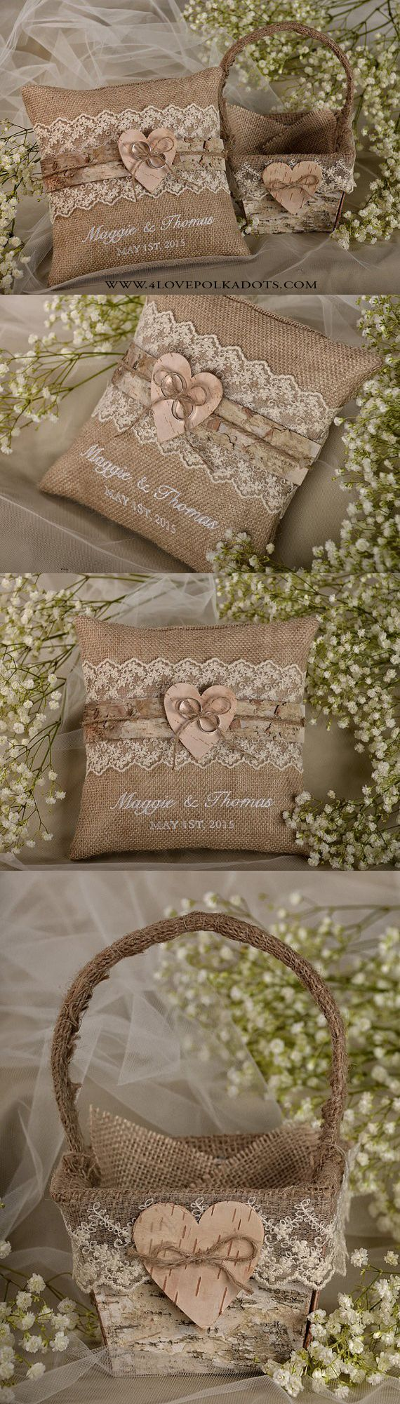 Rustic Wedding Flower Girl Set : Burlap Ring Pillow \u0026 Matching Basket #weddingideas #rustic & Best 25+ Burlap ring pillows ideas on Pinterest | Rustic ring ... pillowsntoast.com