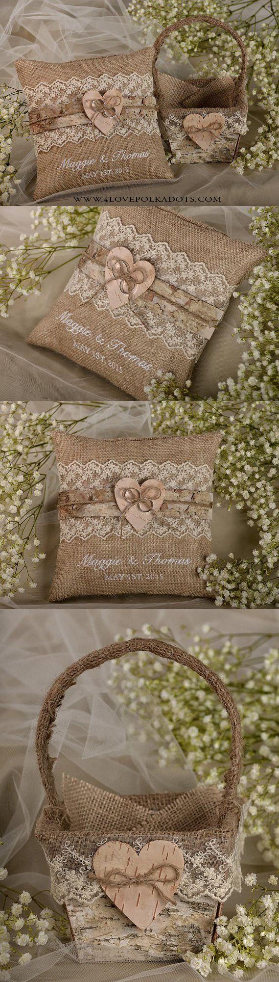 Rustic Wedding Flower Girl Set : Burlap Ring Pillow & Matching Basket #weddingideas #rustic #flowergirl