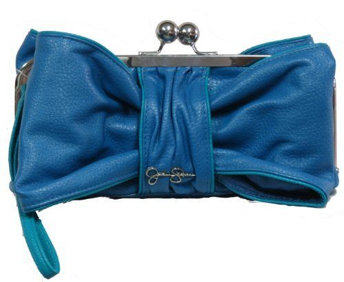 """Jessica Simpson Blue Bow Clutch Handbag/ Wristlet by Jessica Simpson. $69.99. Dimension: 10"""" w x 5"""" H. Includes a key chain. Includes a small id or credit wallet.. Cute blue bow Clutch handbag with wristlet"""