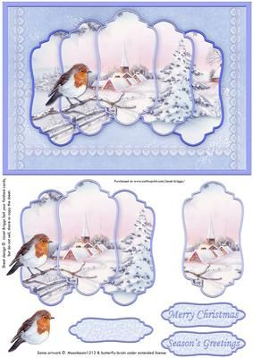 CHRISTMAS ROBIN VILLAGE 5 Panel Quick Card on Craftsuprint designed by Janet Briggs - Christmas card front, featuring a vintage winter scene, with a robin.The Christmas scene is framed in 5 overlapping panels. Additional panels for layering, which create 3d depth, with quick and easy cutting.Great for when time is of the essence.3 sentiment tags provided, including one blank for your own greeting. The others read,Merry ChristmasSeason's Greetings - Now available for download!