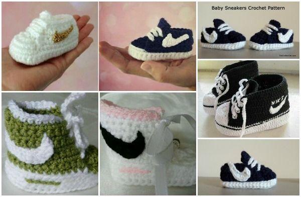 Un patron gratuit pour crocheter des pantoufles style Nike pour bébé! - Bricolages - Des bricolages géniaux à réaliser avec vos enfants - Trucs et Bricolages - Fallait y penser !