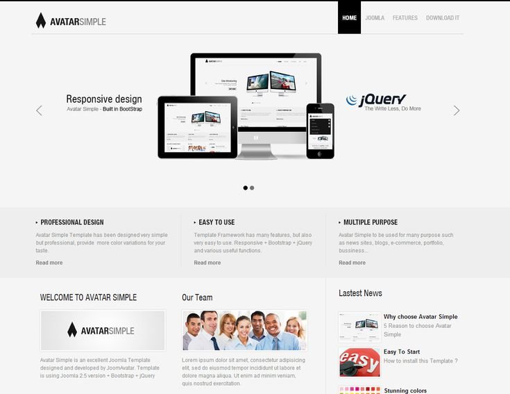 Avatar Simple is provided as a perfect Joomla template for simple business purpose with clean design base on white color. It support for all devices screen.