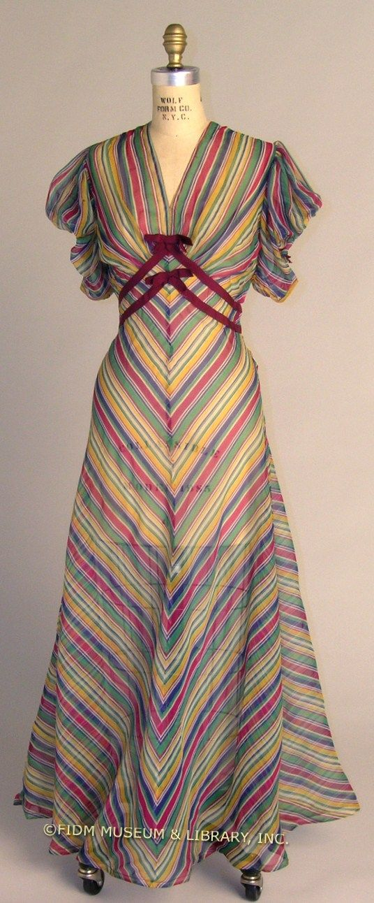 Bright striped day dress, Depression Era, empire waist, short sleeve, ribbon accents, circa 1936